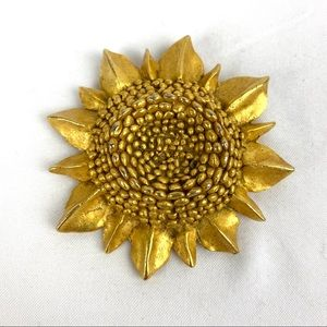 Kate Hines Sunflower Brooch 1980s